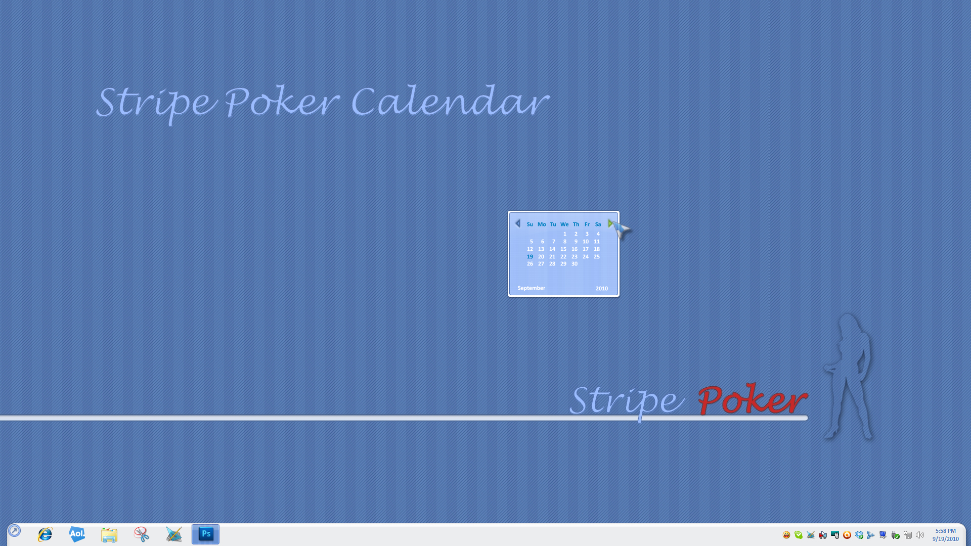 Stripe Poker Calendar Gadget
